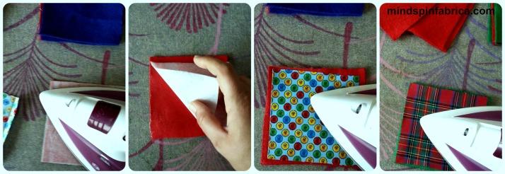 Σιδερώνεις πάνω από το θερμοκολλητικό-αράχνη,αφαιρείς το χαρτί, τοποθετείς το ύφασμα, σιδερώνεις και έτοιμο!