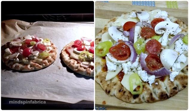 Ατομική πίτσα με βάση πίτα για σουβλάκια.