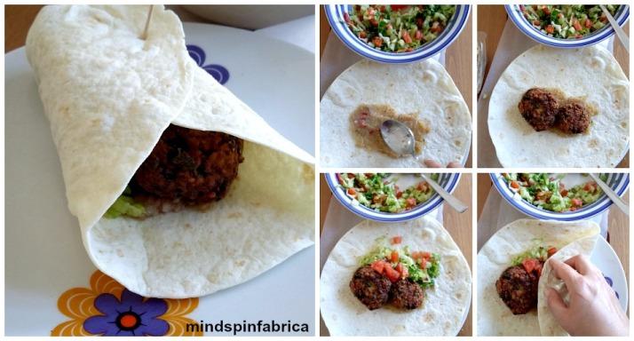 Προσθέστε σοσ, τα λαχανικά, τα falafel και τυλίξτε την πίτα