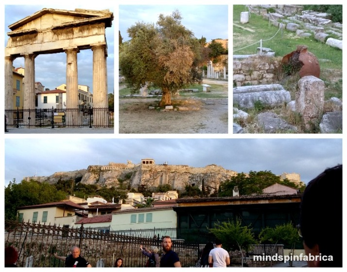 H Ρωμαϊκή αγορά της Αθήνα και όψη της Ακρόπολη.