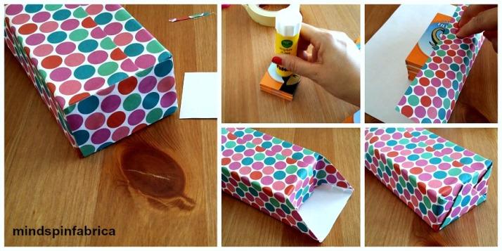 Κόλλημα των κουτιών και τύλιγμα με χρωματιστό χαρτί