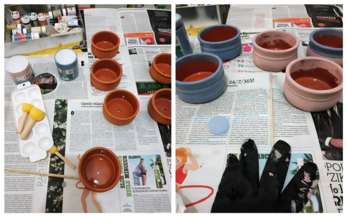 Βάψιμο πήλινων δοχείων γιαουρτιού με χρώματα κιμωλίας
