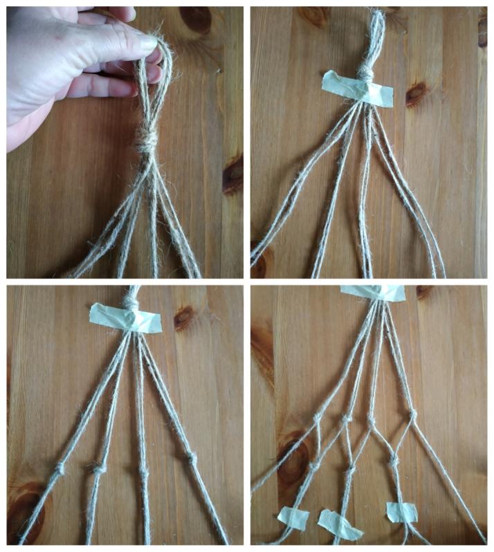 Απλό macrame διχτάκι για κρεμαστά γλαστράκια
