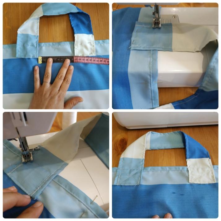 Στερεώνουμε τα χερούλια της τσάντας και ράβουμε